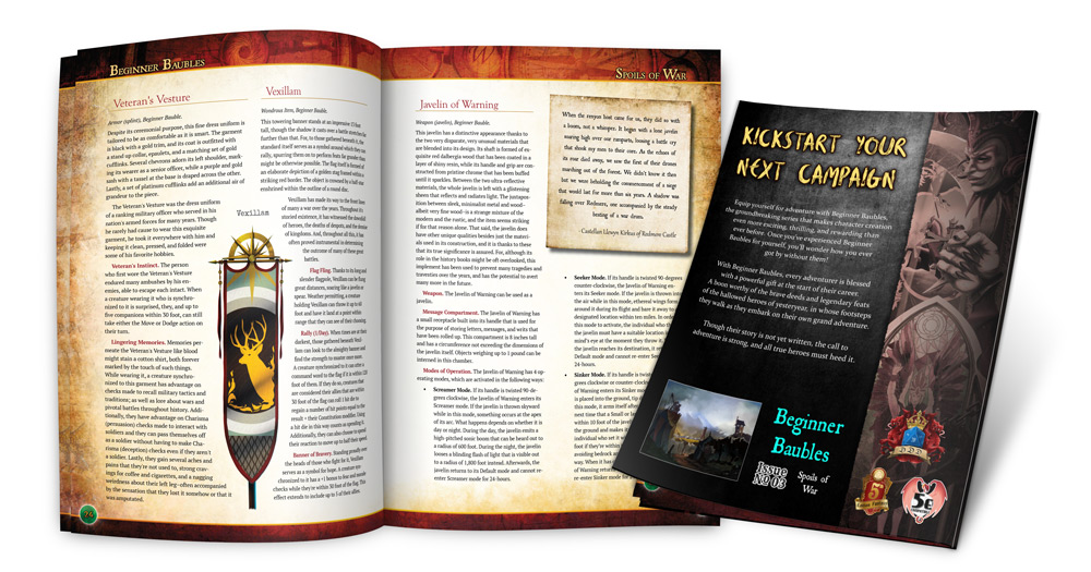Preview of the interior and rear cover of Beginner Baubles Spoils of War